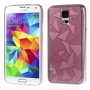 Water Cube Pattern Plating Metal Hard Protector Shell for Samsung Galaxy S5 G900 - Pink