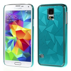 Water Cube Pattern Plating Metal Hard Case Cover for Samsung Galaxy S5 G900 - Light Blue