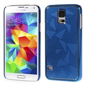 Water Cube Pattern Plating Metal Hard Case Shell for Samsung Galaxy S5 G900 - Deep Blue