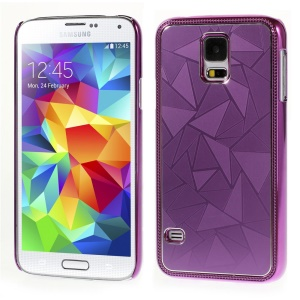 Water Cube Pattern Plated Metal Protective Shell Case for Samsung Galaxy S5 G900 - Purple