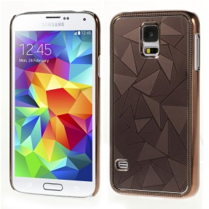 Water Cube Pattern Plated Metal Protective Shell Cover for Samsung Galaxy S5 G900 - Coffee