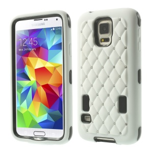 Starry Sky Rhinestone PC + Silicone Hybrid Shell for Samsung Galaxy S5 G900 - White
