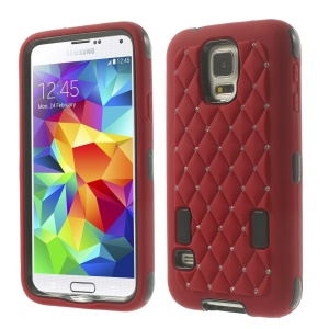 For Samsung Galaxy S5 G900 Starry Sky Rhinestone PC + Silicone Hybrid Cover - Red