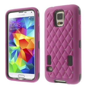 For Samsung Galaxy S5 G900 Starry Sky Rhinestone PC + Silicone Hybrid Case - Rose