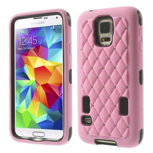 Starry Sky Rhinestone PC + Silicone Hybrid Case for Samsung Galaxy S5 G900 - Pink