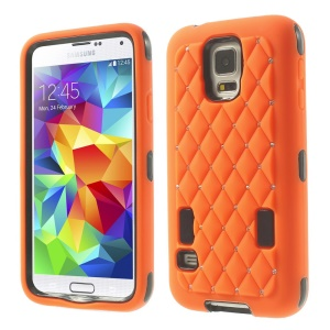 Starry Sky Rhinestone PC + Silicone Shell Case for Samsung Galaxy S5 G900 - Orange