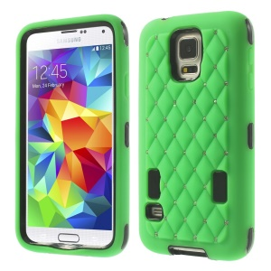 Starry Sky Rhinestone PC + Silicone Shell Cover for Samsung Galaxy S5 G900 - Green