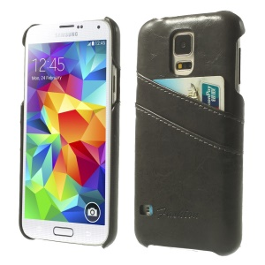 Oil Wax PU Leather Hard Case w/ Card Slots for Samsung Galaxy S5 G900 - Black