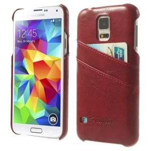 Oil Wax PU Leather Hard Case w/ Card Slots for Samsung Galaxy S5 G900 - Red