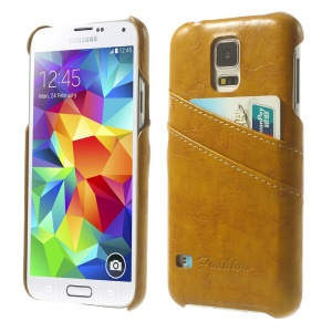 Oil Wax PU Leather Hard Case w/ Card Slots for Samsung Galaxy S5 G900 - Orange