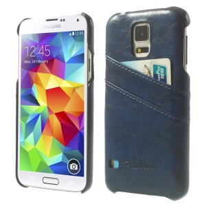 Oil Wax PU Leather Hard Cover w/ Card Slots for Samsung Galaxy S5 G900 - Deep Blue
