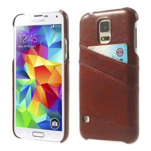 Oil Wax PU Leather PC Back Case w/ Card Slots for Samsung Galaxy S5 G900 - Brown