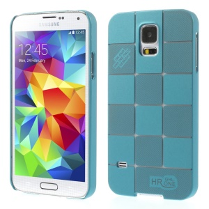 Check Pattern Slim Plastic Cover for Samsung Galaxy S5 G900 - Light Blue