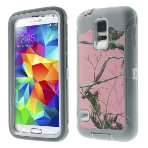 Green Tree Branch Pattern Hybrid TPU + PC Protection Case for Samsung Galaxy S5 G900 - Grey