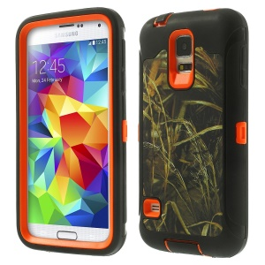 Dry Straw Pattern Heavy Duty TPU + PC Hybrid Protection Cover for Samsung Galaxy S5 G900 - Black / Orange
