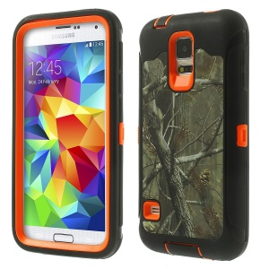 Dry Tree Branch Pattern Heavy Duty TPU + PC Combo Protection Case for Samsung Galaxy S5 G900 - Black / Orange