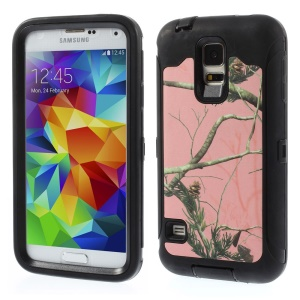 Green Tree Branch Pattern Hybrid TPU + PC Protecter Case for Samsung Galaxy S5 G900 - Black