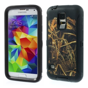 Dry Straw Pattern TPU + PC Hybrid Back Case for Samsung Galaxy S5 G900 - Black