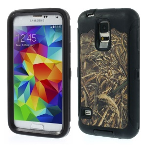 Dry Wheat Pattern TPU + PC Hybrid Protector Cover for Samsung Galaxy S5 G900 - Black