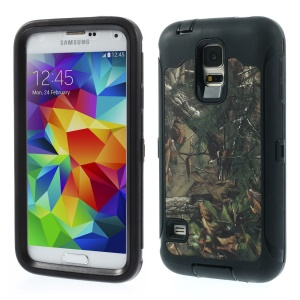 Green Leaves Tree Heavy Duty TPU + PC Combo Cover for Samsung Galaxy S5 G900 - Black