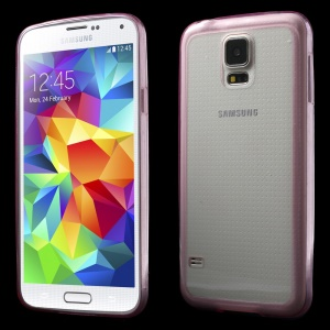 0.6mm Ultrathin Clear Acrylic + Soft TPU Hybrid Shell for Samsung Galaxy S5 G900 - Rose