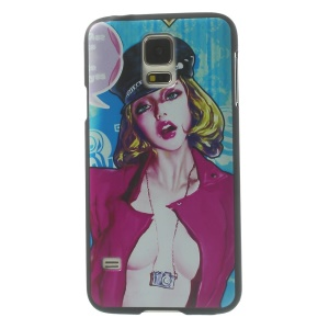 Hot Girl in Rose Coat Plastic Hard Shell for Samsung Galaxy S5 G900