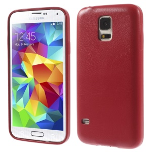 K-cool Lychee Leather Coated Hard Phone Cover for Samsung Galaxy S5 G900 - Red