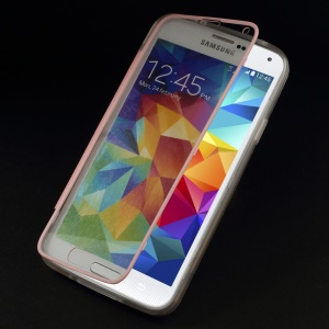 Clear Acrylic + TPU Hybrid Folio Flip Cover for Samsung Galaxy S 5 G900 - Pink