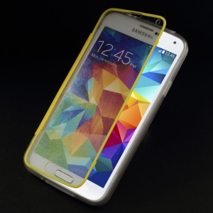 Clear Acrylic + TPU Hybrid Folio Flip Shell for Samsung Galaxy S 5 G900 - Yellow
