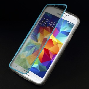 Folio Flip Clear Acrylic + TPU Protection Case for Samsung Galaxy S 5 G900 - Blue