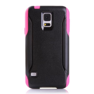 Shockproof Dirt-proof PC + TPU Hybrid Protector Cover for Samsung Galaxy S5 G900 - Black / Rose