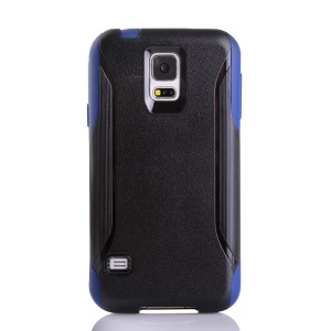 Shockproof Dirt-proof PC + TPU Combo Protection Case for Samsung Galaxy S5 G900 - Black / Blue