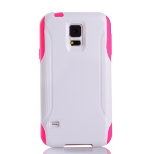Hybrid PC + TPU Shockproof Dirt-proof Protective Cover for Samsung Galaxy S5 G900 - White / Rose
