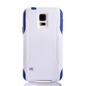 Hybrid PC + TPU Shockproof Dirt-proof Protective Shell for Samsung Galaxy S5 G900 - White / Blue