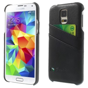 Card Slots Genuine Full Grain Leather Coated Hard Case for Samsung Galaxy S5 G900 - Black