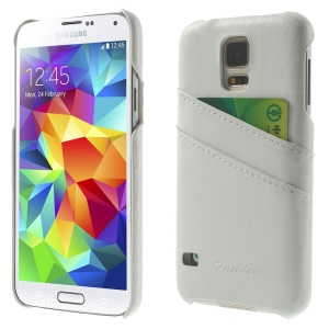 Genuine Full Grain Leather Coated Card Slots Hard Shell for Samsung Galaxy S5 G900 - White