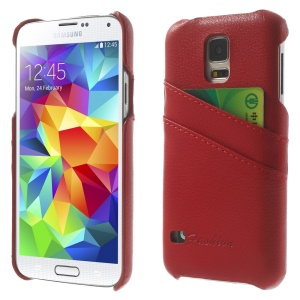 Genuine Full Grain Leather Coated Hard Cover w/ Card Slots for Samsung Galaxy S5 G900 - Red