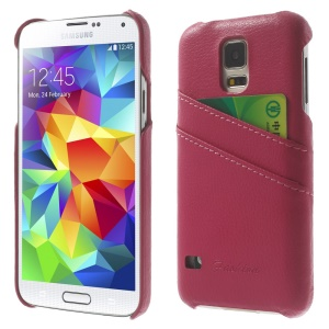 Genuine Full Grain Leather Coated Hard Case w/ Card Slots for Samsung Galaxy S5 G900 - Rose