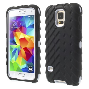Tyre Texture Silicone + PC Hybrid Shell Case for Samsung Galaxy S5 G900 - White