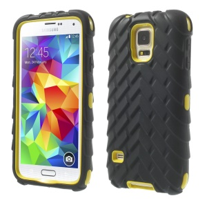 Tyre Texture Silicone + PC Hybrid Case Cover for Samsung Galaxy S5 G900 - Yellow