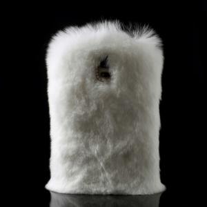 Rabbit Fur Coated PC + TPU Hybrid Case for Samsung Galaxy S5 G900 - White