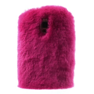 Rabbit Fur Coated PC + TPU Hybrid Case Shell for Samsung Galaxy S5 G900 - Rose