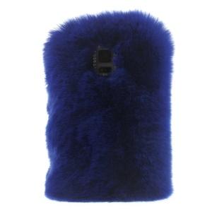 Rabbit Fur Coated PC + TPU Hybrid Case Cover for Samsung Galaxy S5 G900 - Dark Blue