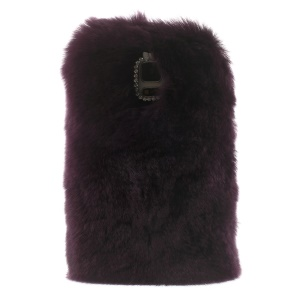 Rabbit Fur Coated PC + TPU Hybrid Protective Case for Samsung Galaxy S5 G900 - Dark Purple