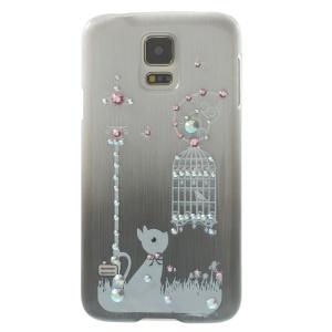 Cute Rabbit & Birdcage Rhinestone Brushed Hard Case for Samsung Galaxy S5 G900 - Grey