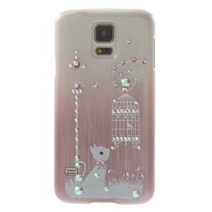 Cute Rabbit & Birdcage Rhinestone Brushed Hard Shell Case for Samsung Galaxy S5 G900 - Pink