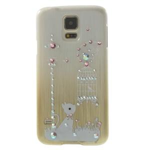 Cute Rabbit & Birdcage Rhinestone Brushed Hard Plastic Case for Samsung Galaxy S5 G900 - Champagne