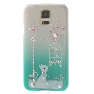 Cute Rabbit & Birdcage Rhinestone Brushed Hard Shell for Samsung Galaxy S5 G900 - Blue
