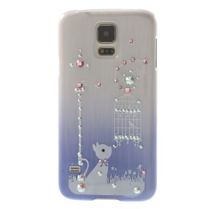 Cute Rabbit & Birdcage Rhinestone Brushed Hard Case Shell for Samsung Galaxy S5 G900 - Purple