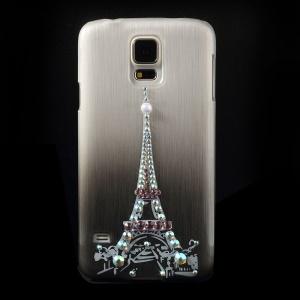 Eiffel Tower Rhinestone Brushed Hard Shell Case for Samsung Galaxy S5 G900 - Grey